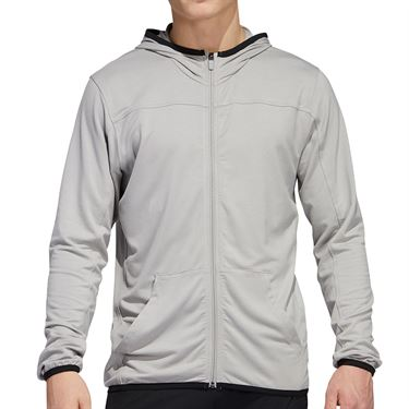 adidas City Studio Fleece Full Zip Hoodie Mens Solid Grey GC8212