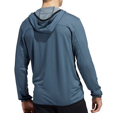 adidas City Studio Fleece Full Zip Hoodie Mens Legacy Blue GC8213