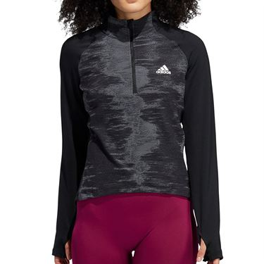 adidas 1/2 Zip Long Sleeve Pullover Womens Black/White GD1218