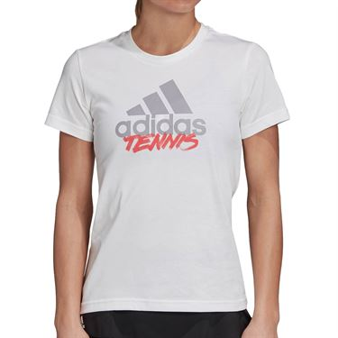 adidas Tennis Graphic Logo Tee Shirt Womens White GD9114