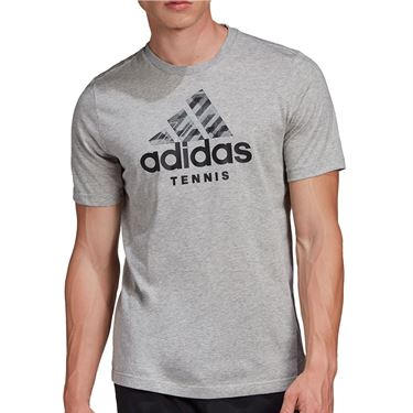 adidas Tennis Logo Tee Shirt Mens Medium Grey Heather GD9219
