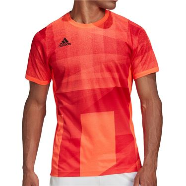 adidas Olympics Crew Shirt Mens Solar Red GE4840