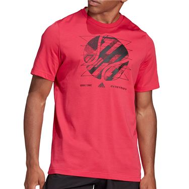 adidas US Open Tee Shirt Mens Power Pink GF3196