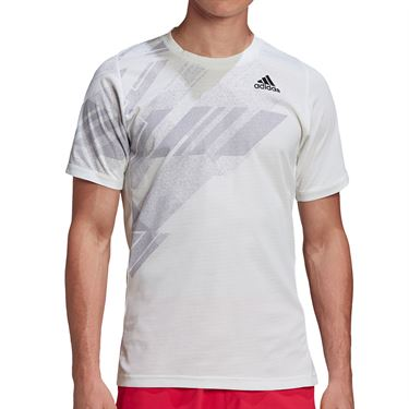 adidas Freelift Print Crew Shirt Mens White/Power Pink GG5244