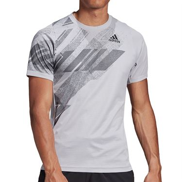 adidas Freelift Print Crew Shirt Mens Glory Grey/Power Pink GG5245