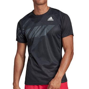 adidas Freelift Print Crew Shirt Mens Black GG3746