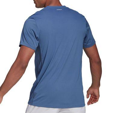 adidas Club 3 Stripe Tee Shirt Mens Crew Blue/White GH7227