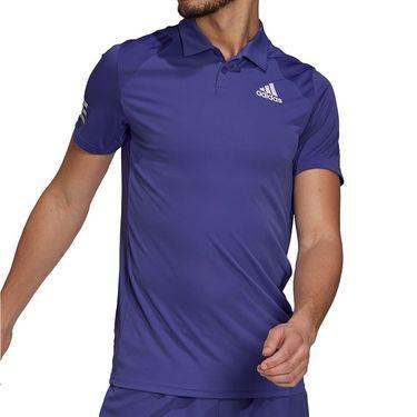 adidas Club 3 Stripe Polo Shirt Mens Purple/White GH7228
