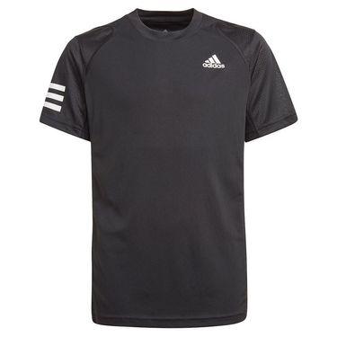 adidas Boys Club 3 Stripe Tee Shirt Black/White GK8179