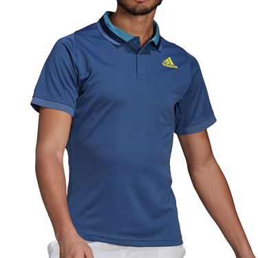 adidas Freelift Polo Shirt Mens Crew Blue/Acid Yellow GK9531