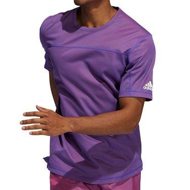 adidas Primeblue Tee Shirt Mens Scarlet Melange GL0429