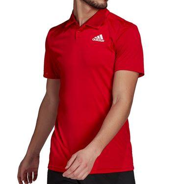 adidas Club 3 Stripe Polo - Scarlet/White