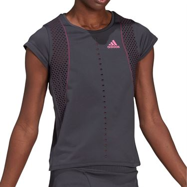 adidas Tee Shirt Womens Solid Grey/Screaming Pink GL5704
