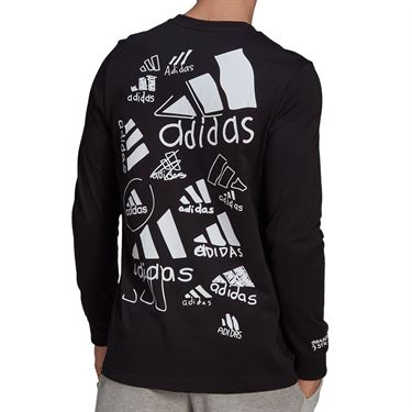 adidas Scribble Long Sleeve Tee Shirt Mens Black GN6853
