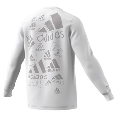 adidas Scribble Long Sleeve Tee Shirt Mens White GN6856