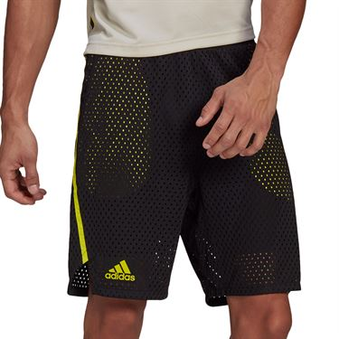 adidas 2 in 1 Next Level Tennis Shorts Mens Black/Acid Yellow GP9482