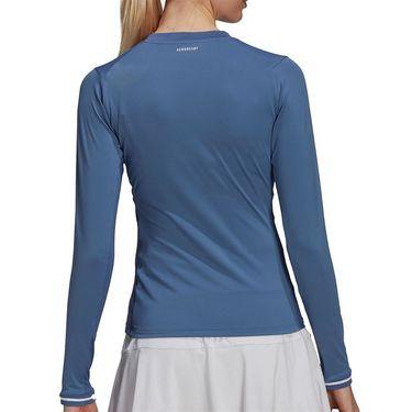 adidas Freelift Long Sleeve Top Womens Crew Blue/White GQ1076