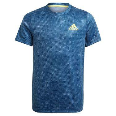 adidas Boys Tee Shirt Crew Navy/Acid Yellow GQ2231