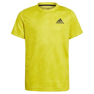 adidas Boys Tee Shirt Acid Yellow/Wild Pine/White GQ2232