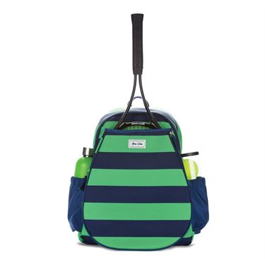 Ame and Lulu Game On Tennis Backpack - Sporty Green/Navy Stripe