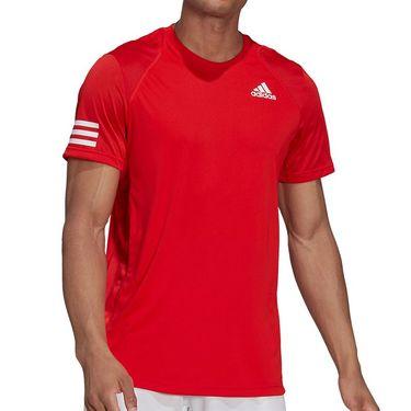 adidas Club 3 Stripe Tennis Tee Shirt - Vivid Red/White | Tennis-Point