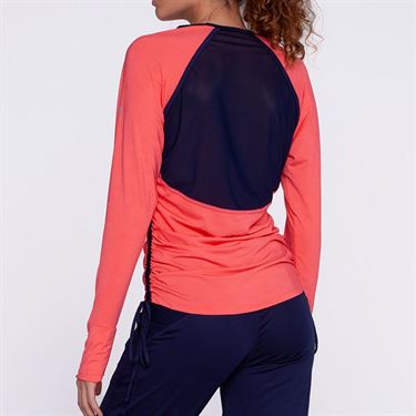 Eleven Ikat Tangle Long Sleeve Top - Coral