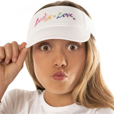 Lucky in Love Mad About Plaid Girls Visor White