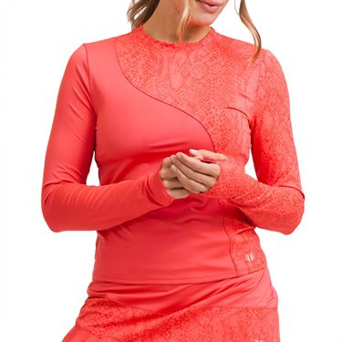 Eleven In The Curves Sun Bliss Long Sleeve Top Womens Coral LS134 830