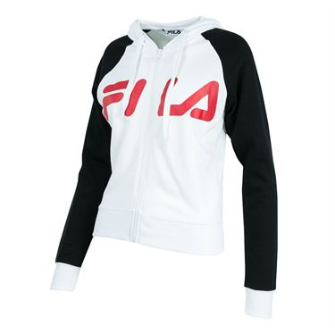 Fila Cropped Zip Up Sweatshirt - White/Black/Red