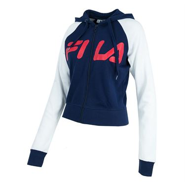 Fila Cropped Zip Up Sweatshirt - Navy/White/Red