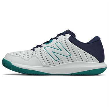 New Balance 696v4 (2E) Mens Tennis Shoe - White/Navy/Teal