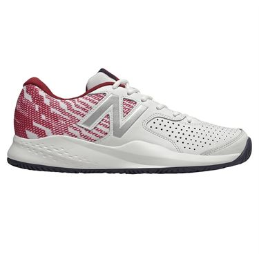 New Balance MC 696 (D) Mens Tennis Shoe - White/Scarlet