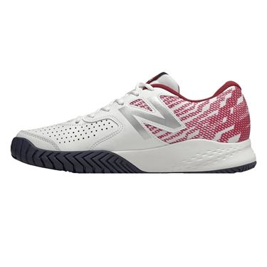 New Balance MC 696 (2E) Mens Tennis Shoe - White/Scarlet