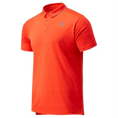 New Balance Rally Performance Polo Shirt Mens Neo Flame MT01416 NEF