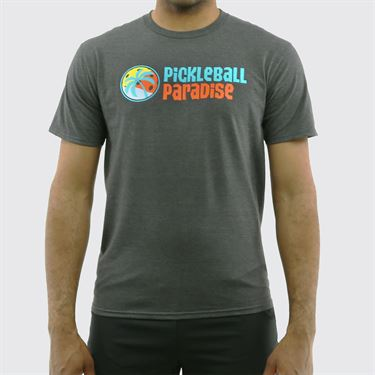 Pickleball Paradise Logo Tee - Dark Heathered Charcoal Grey