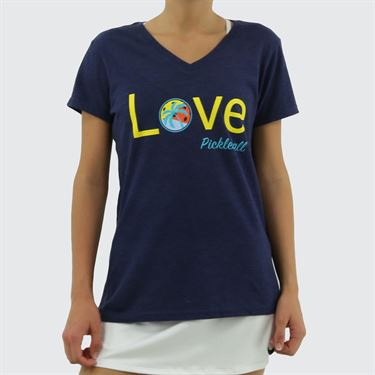 Pickleball Paradise Love Pickleball V Neck Tee - Team Navy Heather