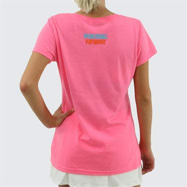 Pickleball Paradise Love Pickleball V Neck Tee - Neon Pink Heather