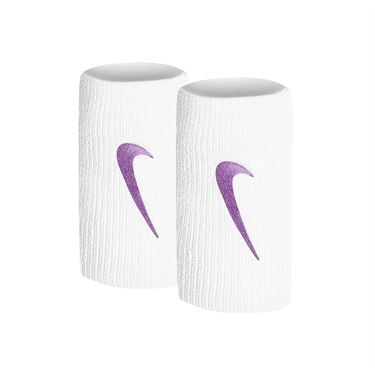 Nike Tennis Premier Doublewide Wristbands - White/Bright Violet