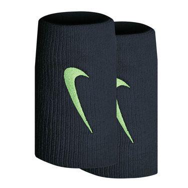 Nike Tennis Premier Doublewide Wristbands - Obsidian/Lime Glow Mango