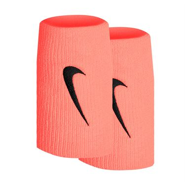 Nike Tennis Premier Doublewide Wristbands - Bright Mango/Black