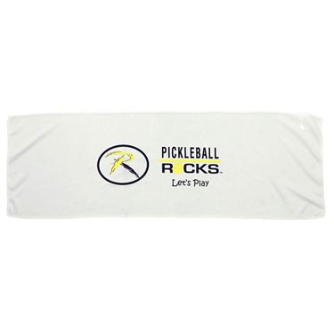 Pickleball Rocks Chill Cooling Towel - White