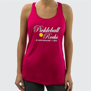 Pickleball Rocks Everywhere I Go Tank - Pink Raspberry