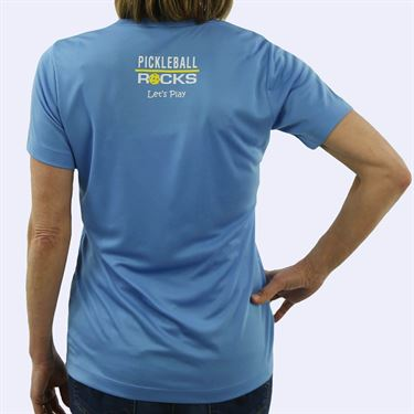 Pickleball Rocks My Partner Rocks V Neck Tee - Blue