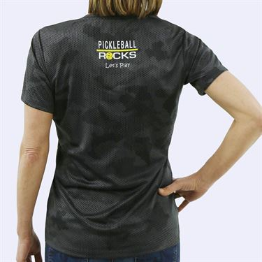Pickleball Rocks Everywhere I Go V Neck Tee - Iron Grey Camo Print