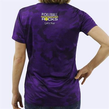 Pickleball Rocks Everywhere I Go V Neck Tee - Purple Camo Print
