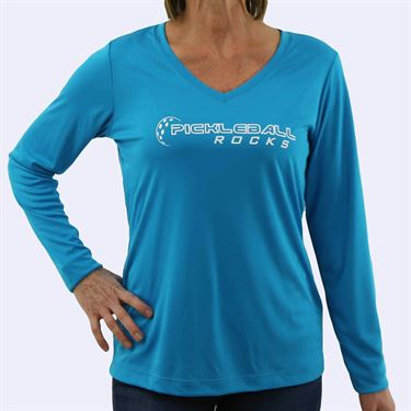 Pickleball Rocks Distressed V Neck Long Sleeve - Atomic Blue