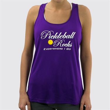 Pickleball Rocks Everywhere I Go Racerback Tank - Purple