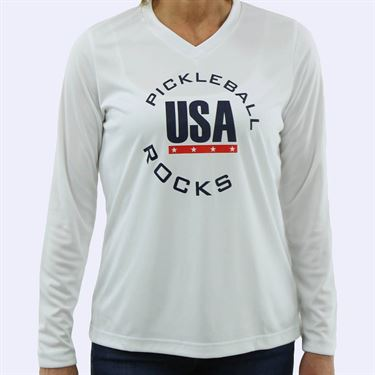 Pickleball Rocks USA Special Edition Long Sleeve - White