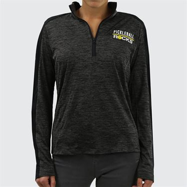Pickleball Rocks 1/4 Zip - Two Tone Black