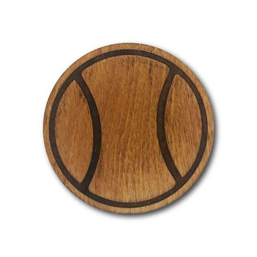 Racquet Inc Tennis Ball Wooden Coasters - Brown